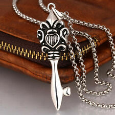 Key Skeleton Stylish Mens Chain Silver Grey Stainless Steel Pendant Necklace