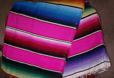 Mexican blanket Serape southwest Pink,Fuchsia Multi color EXTRA LARGE 82 X 62
