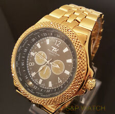 Men's Iced Out Bling Hip Hop Rappers Techno King Gold Tone Luxury Dress Watch
