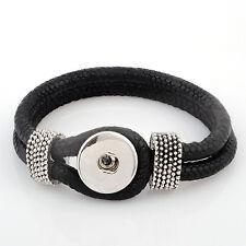 Leder ARMBAND für 1 Chunk Click Button Druckknopf Chunks (21 cm) Black Schwarz