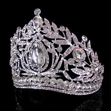 10cm High Large Adult Drip Crystal Wedding Bridal Party Pageant Prom Tiara Crown
