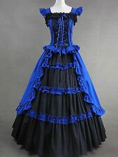 Blue Sleeveless Ruffled Bandage Cotton Gothic Goth Lolita Dress Cosplay Costume
