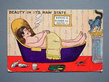 R&L Postcard: Comic, Infal Series, Fat Man Relaxing in Bath with Cigar