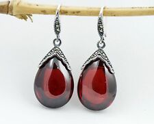 Genuine 925 Sterling Silver Marcasite Teardrop Dangle Earrings W. Red Stone