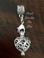 Love Heart Sterling Silver Pearl Cage Pendant For European Style Charm Bracelet