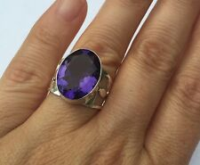 Purple Violet Amethyst STERLING SILVER 925 Ring Size 8 JEWELRY