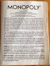 Game Parker Brothers MONOPOLY RULES History FROM 1973 GAME EUC