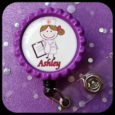 NURSE RN CNA PERSONALIZED Name Retractable Work ID Badge Holder Lanyard Clip Cap