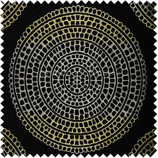 Black Gold Shiny Circle Shape Soft Textured Woven Chenille Upholstery New Fabric