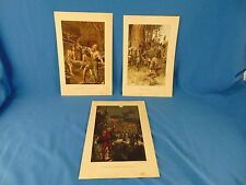 3 Vintage prints from old book color images men indians astronaut dragon art