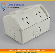 15 Amp IP53 Weatherproof Double GPO Power Point 15A Socket Weather Proof Outlet