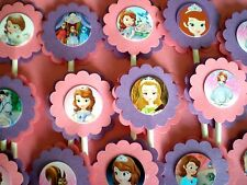 30 SOFIA THE FIRST Cupcake Toppers Birthday Party Favors, Baby Shower Decoration