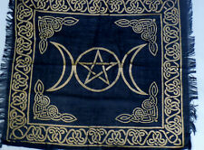 "Altar Cloth/Wiccan/Pagan/Wall Tapestry/Scarve Gold Triple Moon 18"" x 18"" SCV207"