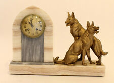 XL Heavy Marble French ART DECO 1930 Clock with spelter sheep dog couple