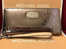NWT MICHAEL KORS JET SET MIRROR TRAVEL CONTINENTAL WALLET/WRISTLET IN NICKEL