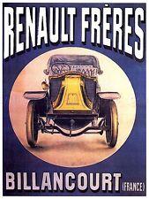 AD Vintage tisseaut automobile voiture RENAULT FRERES BILLANCOURT imprimé Poster lf226