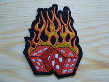 0004 ECUSSON PATCH THERMOCOLLANT DES FLAMMES dice flamming ace spade gambler