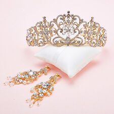 New Wedding Bridal Queen Crystal Gold Crown Tiara Band earring Jewelry Set Party
