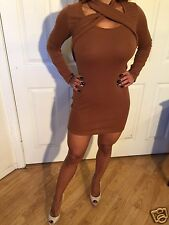 Brown Nude Cocktail Mini Party Dress Long Sleeve Cross Open chest cut out   XXL