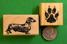Dachshund Dog Rubber Stamp set of (2)  Wood Mounted