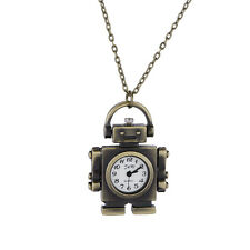Funny Bronze Robot Shape Pendant Necklace Quartz Watch Lady Girl Women Unisex