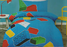 LEGO BLOCKS BLUE RED YELLOW DOUBLE bed QUILT DOONA COVER SET NEW