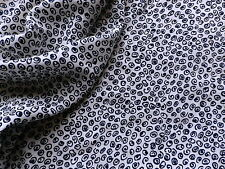 Crepe Dress Scarf Making Fabric in Navy Blue & White Abstract Squiggle Design