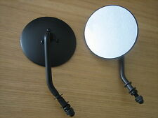 "4"" Black Round Mirror (Sold in PAIRS ) 4"" Stem for Harley Chopper Bobber Custom"