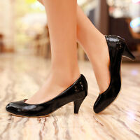 Sexy Pointy Toe Womens Kitten Heels Slip On Patent Leather Shoes