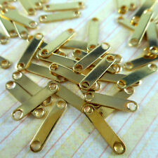 100 Gold Plated 2 Hole Spacer Bar Connectors Findings 12140
