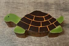 Wood Wooden Turtle Trinket Box - green brown - lightweight