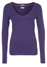 Tommy Hilfiger Womens Hayley V Neck Purple Uk 12/14 Large Ladies Jumper Knitwear