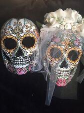 Bride Groom Sugar Skulls Mask Day Of The Dead Dia De Los Muertos Hand Painted