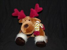 """Animal Alley Moose Reindeer Gold White Striped Scarf Red Antlers Plush 10"""""""