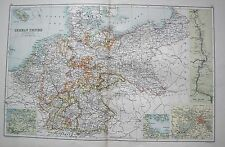 1900 LARGE MAP GERMAN EMPIRE, INSET OF THE RHINE AND ENVIRONS OF BERLIN