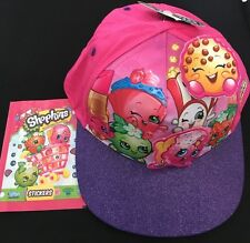 GIRL SHOPKINS NEW BASEBALL CAP PINK PURPLE GLITTER SIZE 4-8 YRS OLD+ 1STICKER PK