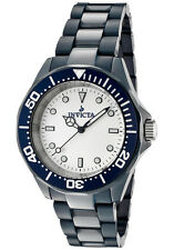Mens Invicta 1183 Black Ceramic White Dial Quartz Casual Watch