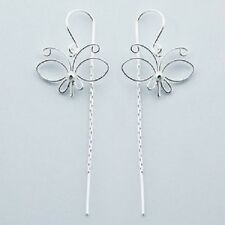 Threader earrings 925 sterling silver dangle Fine Butterfly 57mm drop fashion