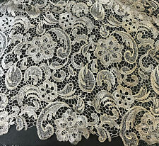 """Ivory & Metallic Gold Floral Flourish LACE Fabric 9""""x22"""" remnant"""