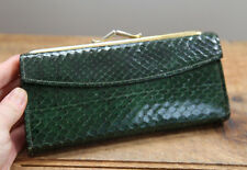 Vintage Baronet Cobra Snake Leather Wallet Clutch Kiss Lock Green Pouch 60s 50s
