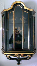 Vintage Victorian Wall Cabinet Shelve Glass Door Display Case Black Gold Painted