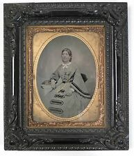 Gutta Percha framed ambrotype / tintype vintage photograph of lady c1860