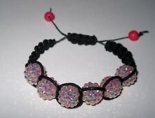 Handwoven shamballa bracelet BLACK waxed cord with PINK acrylic DISCO beads