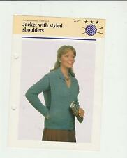 Vintage Knitting Pattern,Ladys Jacket with Styled Shoulders, 20-40in, fol 229