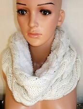 WOMENS BEIGE THICK FAUX FUR CHUNKY CABLE KNIT REVERSIBLE WINTER SNOOD SCARF