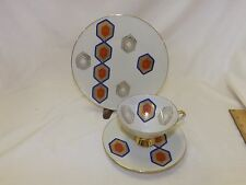 Vintage Mitterteich Bavaria Germany Cup & Saucer Plate Trio Abstract Modern