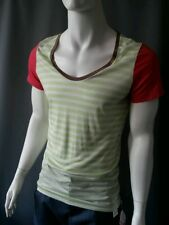 Emily Sharp Mens T-shirt, lime green and white stripe. Large or X large