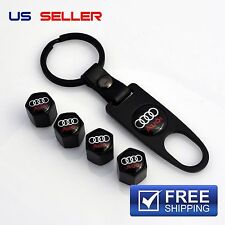 AUDI VALVE STEM CAPS + KEYCHAIN WHEEL TIRE BLACK - US SELLER