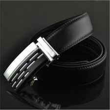 Mens Black Dress Fashion Leather Belt with Auto Lock Stainless Steel Buckle LX14