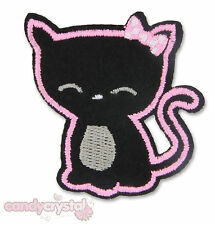 Lucky Black Cat Kitsch Kawaii Embroidered Iron / Sew On Applique Patch Badge